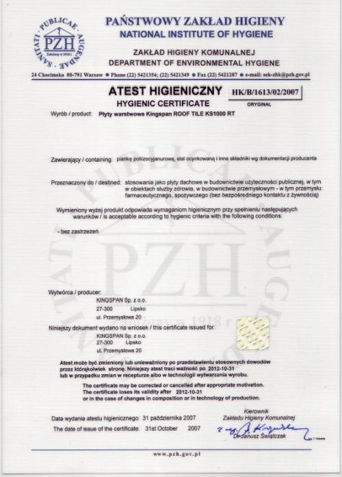 Certyfikat- Atest higieniczny na KS 1000 RT (płytodachówka) dla KINGSPAN