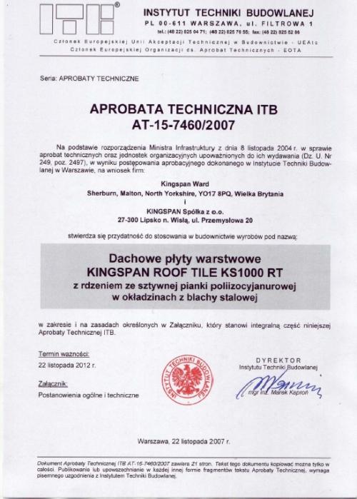 Certyfikat- Aprobata na płytę typu KS1000 RT (płytodachówka) dla KINGSPAN