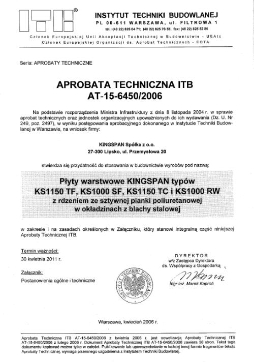 Certyfikat- Aprobata na produkty z rdzeniem z pianki poliuretanowej dla KINGSPAN