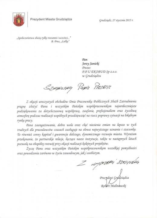 Podziękowania od Prezydenta Miasta Grudziądza