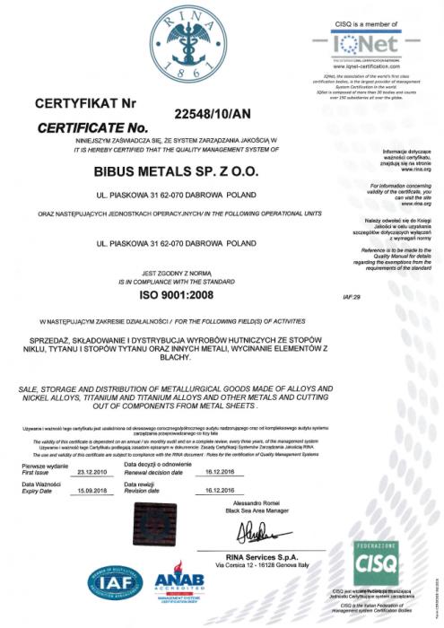Certyfikat ISO: 9001 Bibus Metals