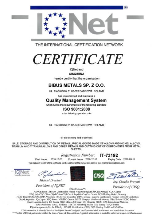 Certyfikat IQNet9001 BIBUS METALS SP. Z O.O.