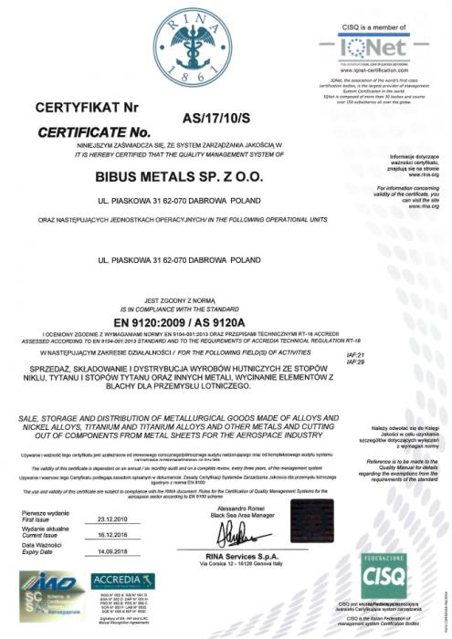 Certyfikat AS 9120 Bibus Metals