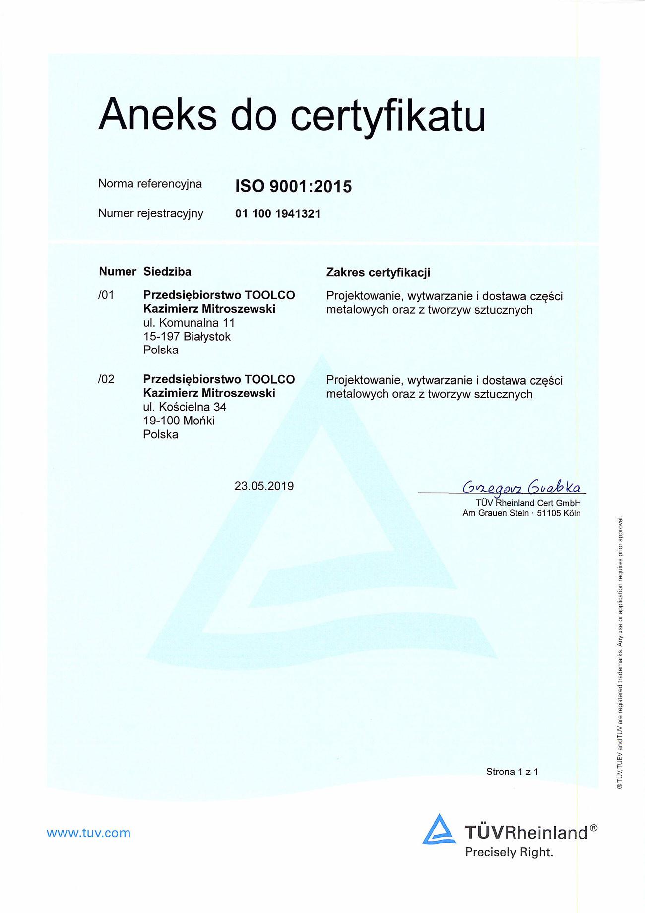 Aneks do certyfikatu ISO 9001:2015