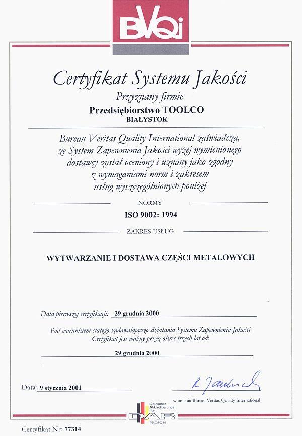 Certyfikat Systemu Jakości ISO 9002:1994 TOOLCO