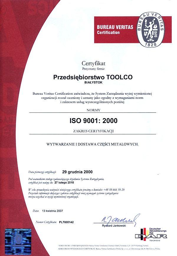 Certyfikat ISO 9001:2000 TOOLCO