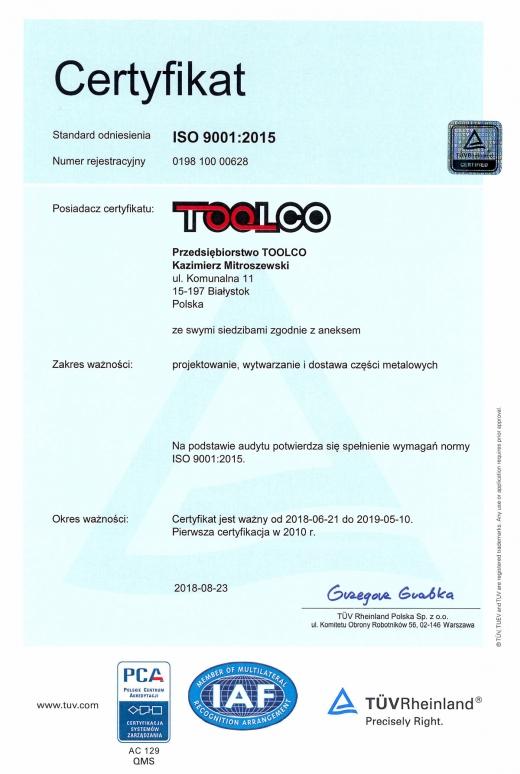 Certyfikat ISO 9001:2015 dla TOOLCO