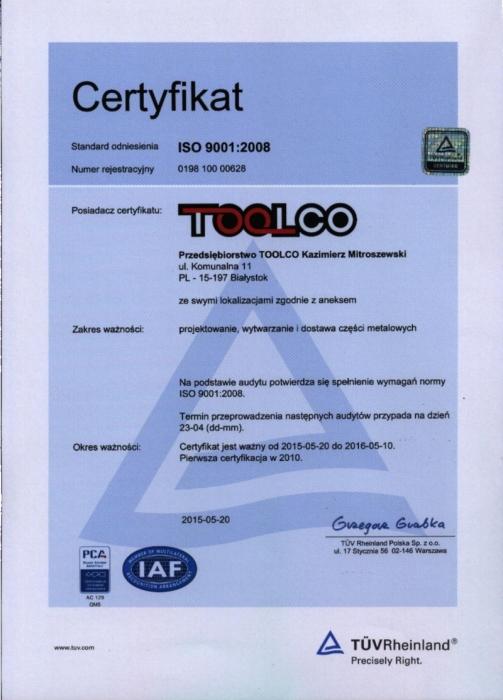 Certyfikat ISO 9001:2008 TOOLCO