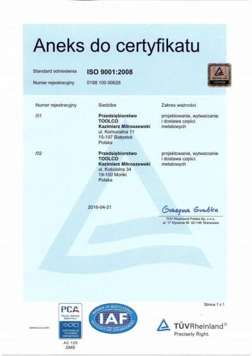Aneks do certyfikatu
