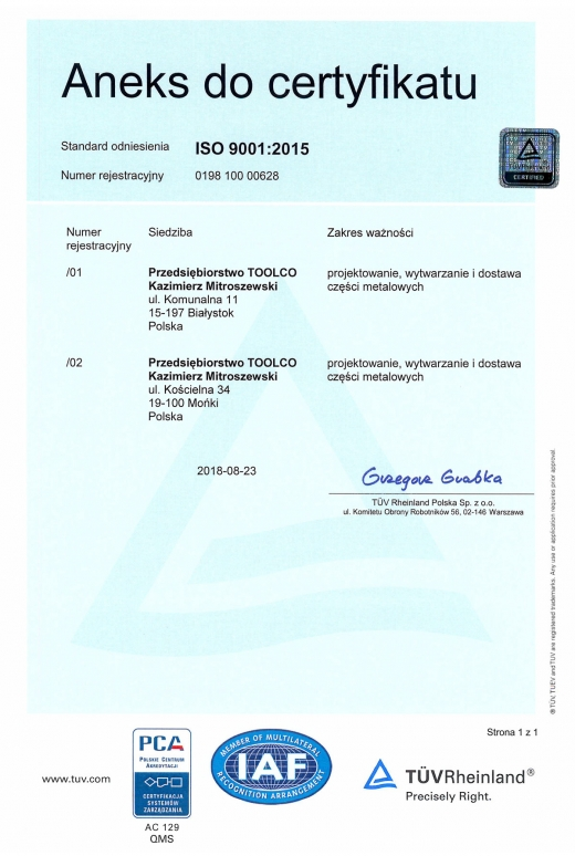 Aneks do certyfikatu ISO 9001:2015 dla TOOLCO