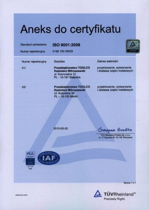 Aneks do certyfikatu ISO 9001:2008 TOOLCO