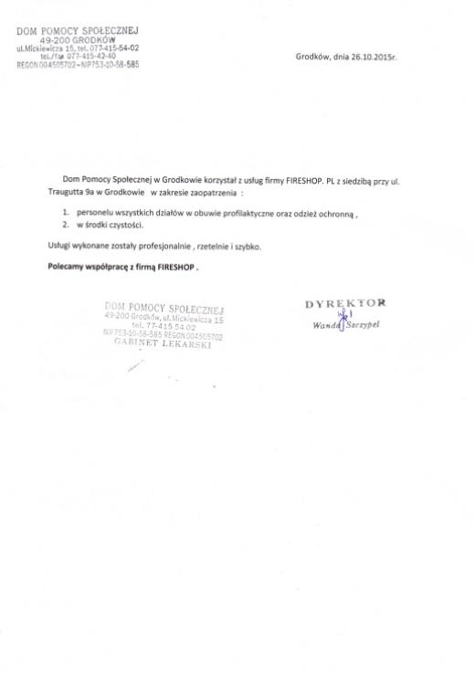 Referencje Domu Pomocy Społecznej w Grodkowie