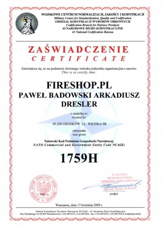Certyfikat Wojskowego Centrum Normalizacji, Jakości i Kondyfikacji