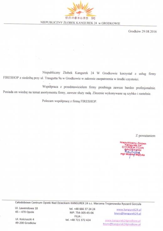 Referencje Niepublicznego Żłobka Kangurek 24 w Grodkowie
