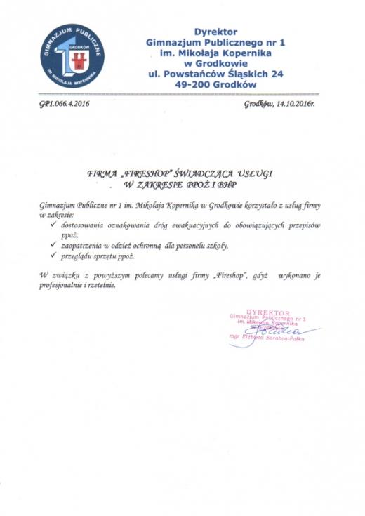 Referencje Publicznej Szkoły Podstawowej nr 1 w Grodkowie
