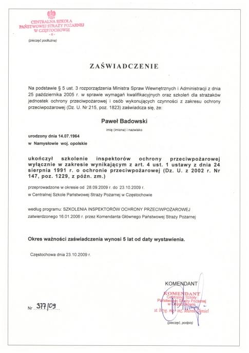 Zaświadczenie Centralnej Szkoły Państwowej Straży Pożarnej w Częstochowie