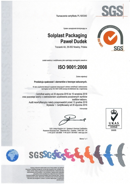 Certyfikat ISO 9001:2008 SOLPLAST Packaging