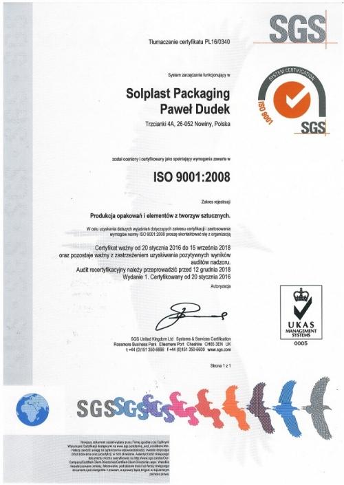 Certyfikat ISO PN-EN 9001:2009, SOLPLAST Packaging