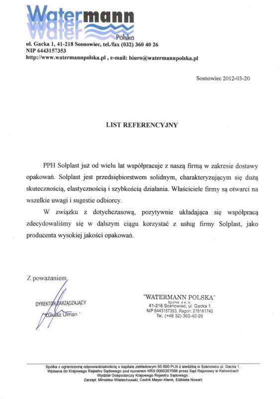 List referencyjny - Watermann Polska Solplast Packaging