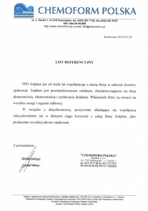 SOLPLAST Packaging,List referencyjny - CHEMOFORM POLSKA