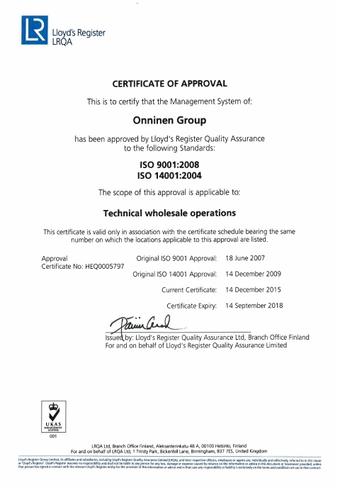 Certyfikat 9001 i 14001 - Onninen Polska