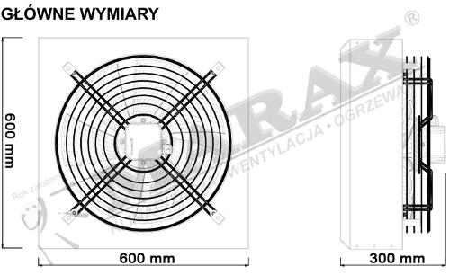 Główne wymiary wentylatora przemysłowego Systema DS 400, Marax