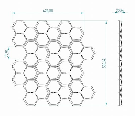 Wymiary: Panele styropianowe 3D - PLASTER MIODU