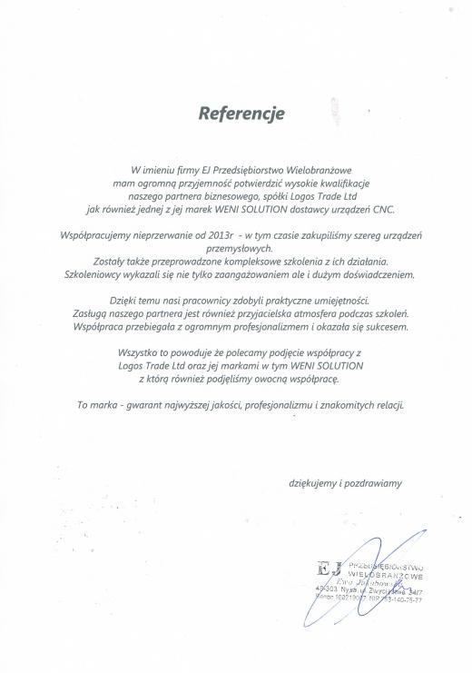 Referencje firmy EJ Przedsiębiorstwo Wielobranżowe