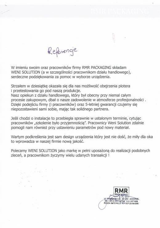 Referencje firmy RMR