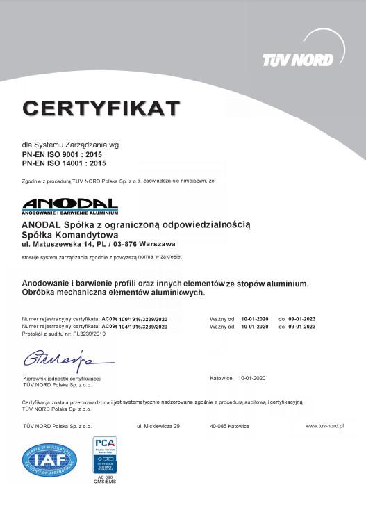 Certyfikat PN-EN ISO 9001:2015, PN-EN ISO 14001:2015