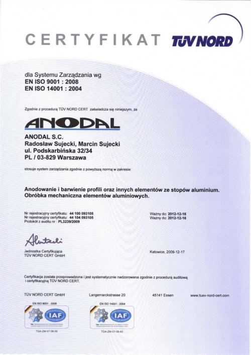 Certyfikat EN ISO 9001:2008, EN ISO 14001:2004, ANODAL