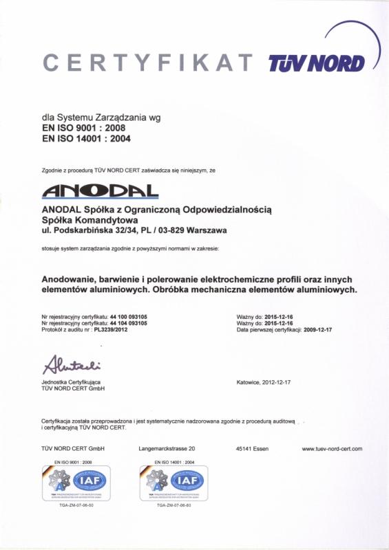 Certyfikat EN ISO 9001:2008, EN ISO 14001:2004 ANODAL