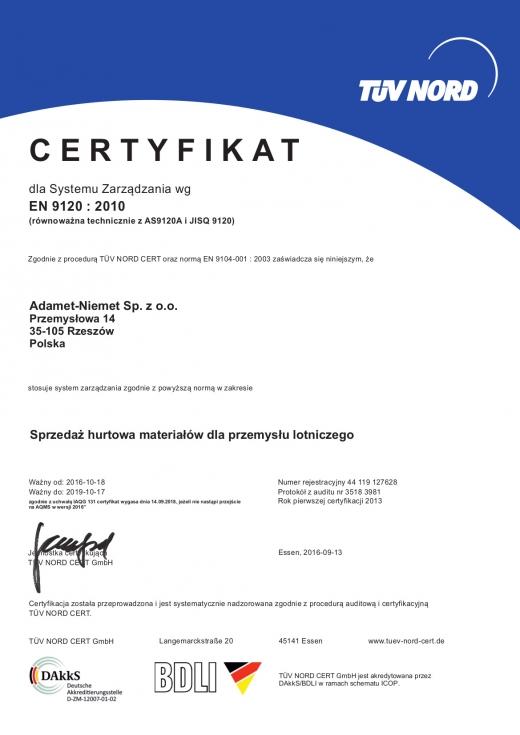 Certyfikat EN 9120:2010 ważny do 2019-10-17, ADAMET-NIEMET Sp. z o.o.