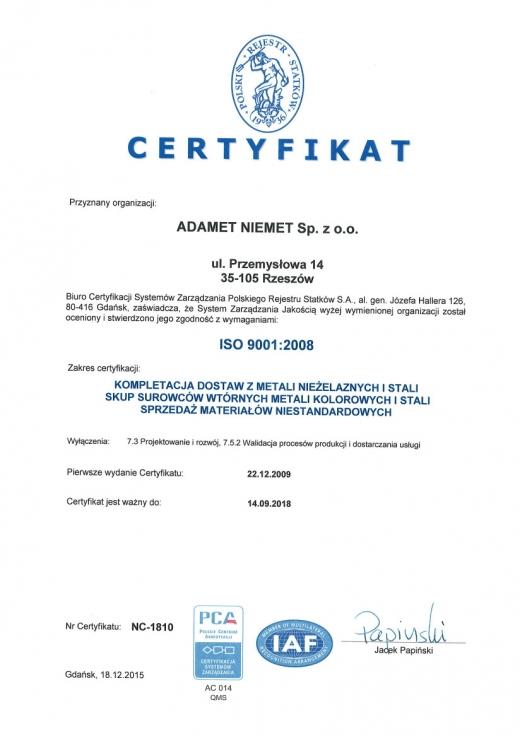 Certyfikat ISO 9001:2008 ważny do 2018-09-14, ADAMET-NIEMET Sp. z o.o.