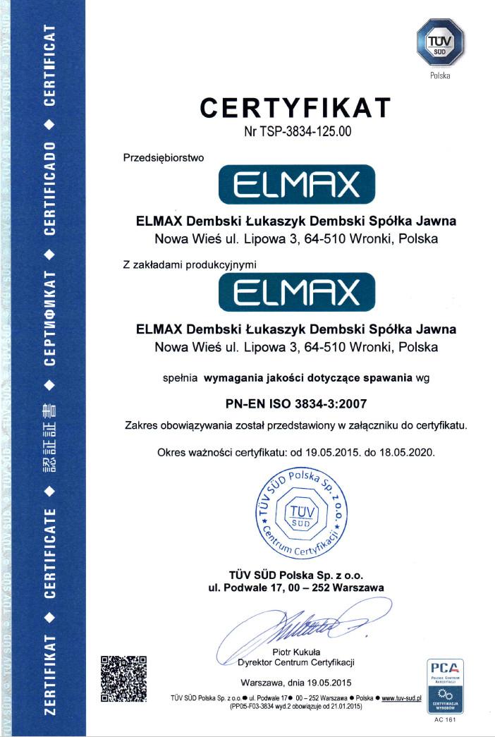 Certyfikat PN-EN ISO 3834-3:2007