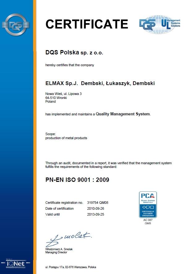 Certyfikat PN-EN ISO 9001:2009