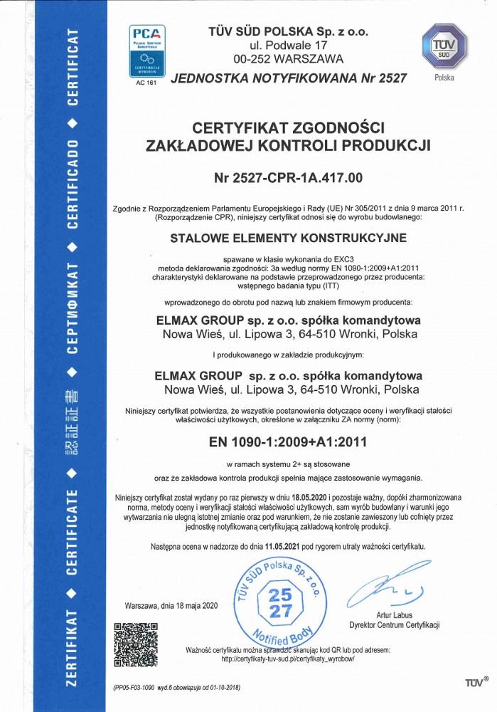 Certyfikat PN-EN ISO 1090-1:2009