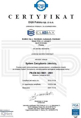 Certyfikat PN-EN ISO 9001:2001 dla Elmax