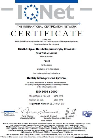 Certyfikat ISO 9001:2000 dla Elmax