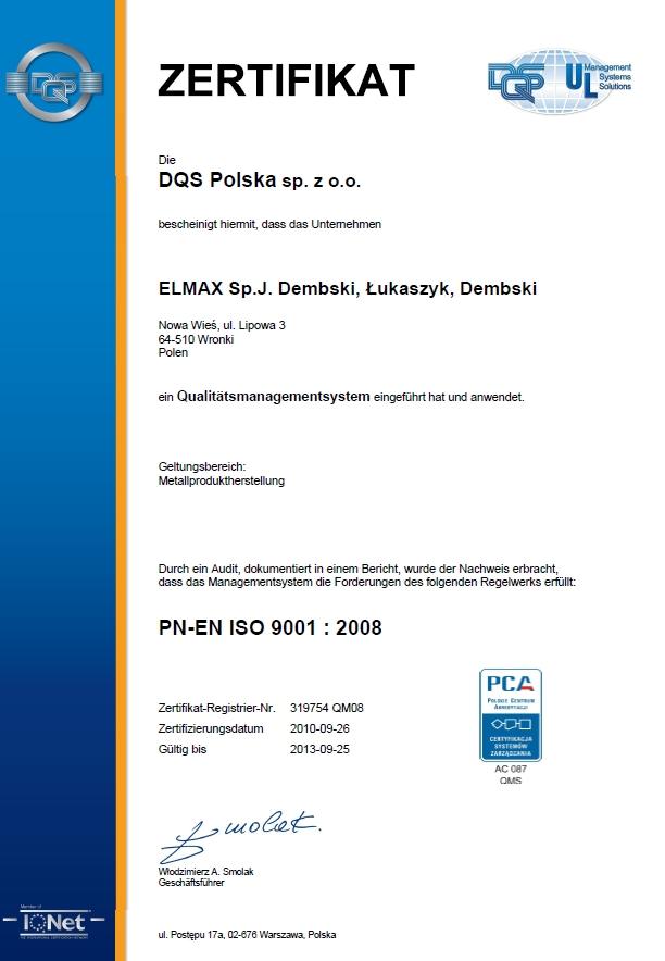 Certyfikat PN-EN ISO 9001:2008 dla Elmax
