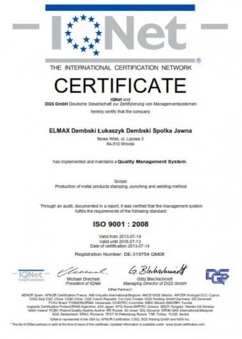Certyfikat ISO 9001:2008 dla firmy ELMAX