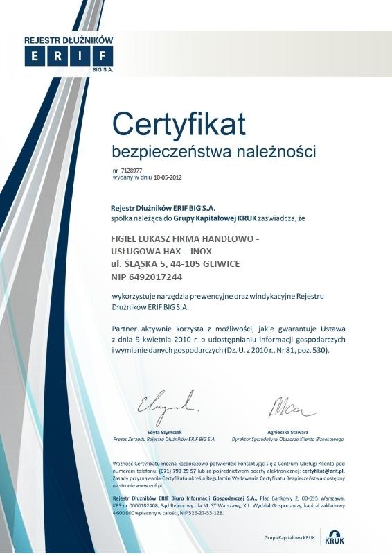 Certyfikat bezpieczeństwa należności, hax-Inox