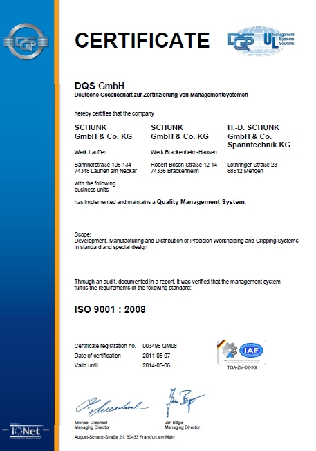 Certyfikat ISO 9001:2008 SCHUNK Intec Sp. z o.o.