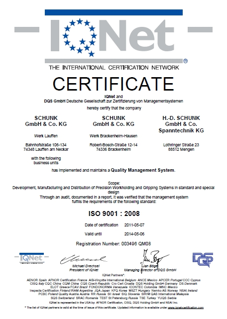 Certyfikat DIN EN ISO 9001:2008 SCHUNK Intec Sp. z o.o.