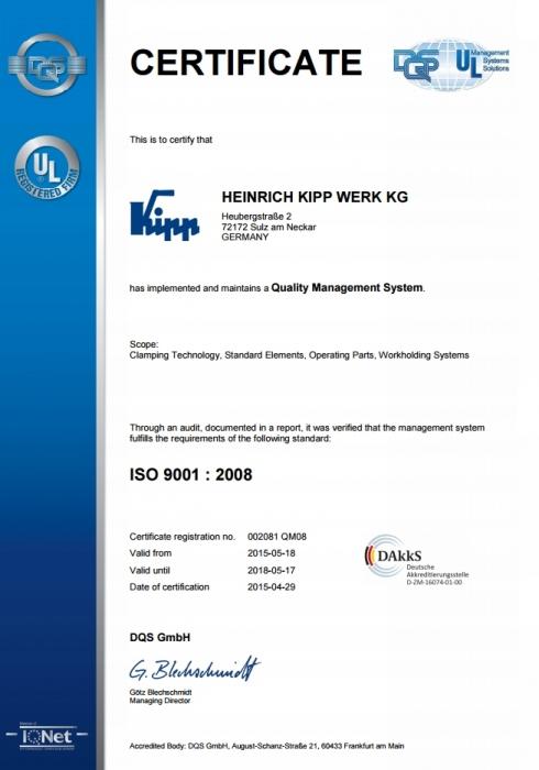 Certyfikat ISO 9001:2008 firmy Heinrich Kipp Werk KG