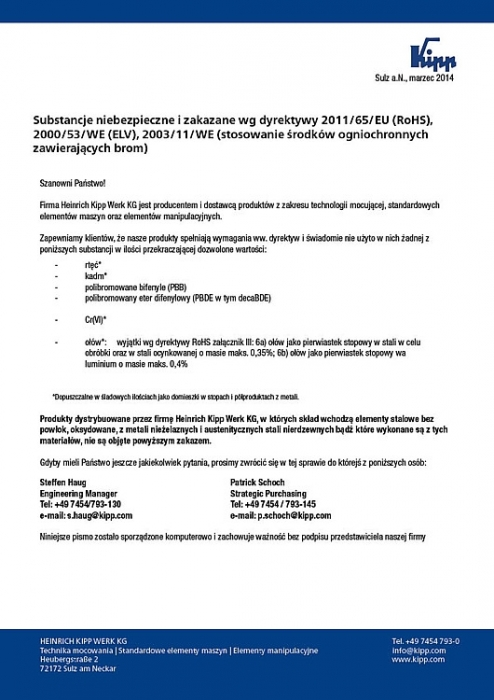 Certyfikat RoHS  firmy Heinrich Kipp Werk KG