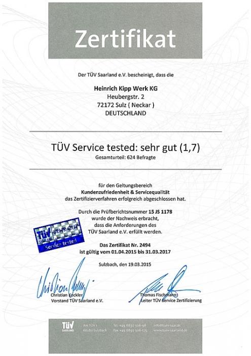 Certyfikat TÜV firmy Heinrich Kipp Werk KG