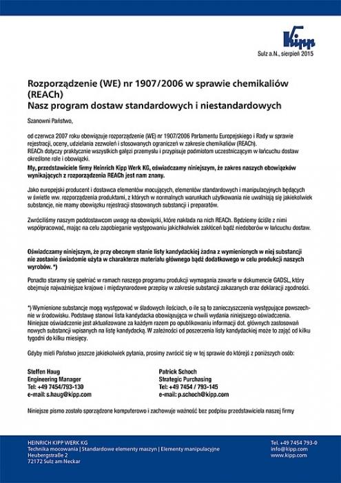 Certyfikat REACh firmy Heinrich Kipp Werk KG