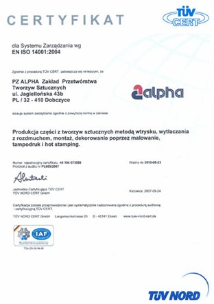Certyfikat dla systemu zarządzania wg EN ISO 14001:2004 dla firmy ALPHA TECHNOLOGY
