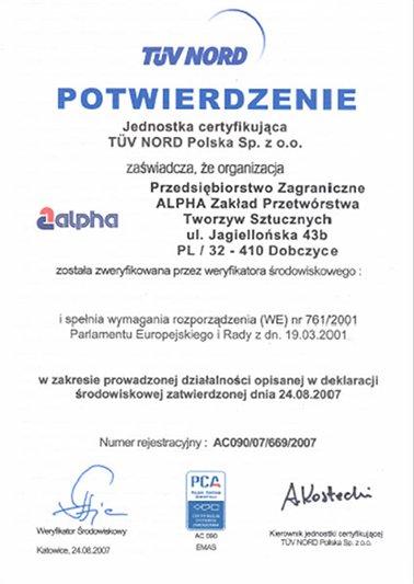 Potwierdzenie Zgodności z Rozporządzeniem EMAS przez jednostkę certyfikującą TÜV NORD Sp. z. o.o. ALPHA TECHNOLOGY
